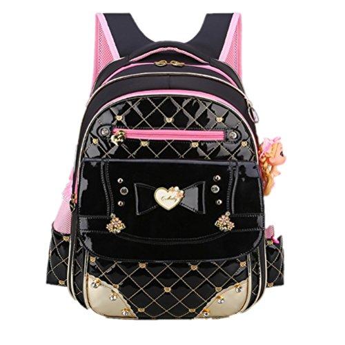Thick Nylon +Pu Princess Style Grils School Bags Randoseru Backpack With a Cute Doll,Kids Bookbag Travel Snack Bag (L, Black)