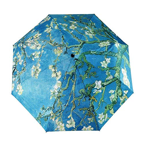 Price comparison product image BJHAP Compact Travel Umbrella Van Gogh Almond Blossom Floral Windproof Lightweight Folding Sun Rain Umbrella for Women Men