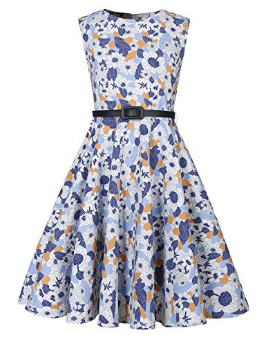 LaBeca Girls 50s Vintage Sleeveless Print Swing Party Kids Casual Dress 6-12 Years