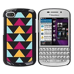 TopCaseStore / la caja del caucho duro de la cubierta de protección de la piel - Black Purple Yellow Pattern - BlackBerry Q10