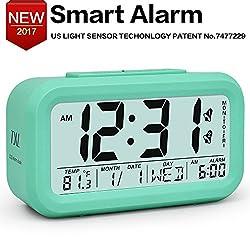Alarm Clock 5.3 Smart Backlight Desk Clock with Snooze Calendar Dimmer For Home Office Bedside Battery Travel Clock Green