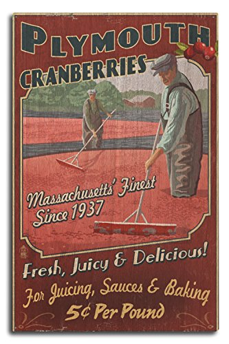 Plymouth, Massachusetts - Cranberry Farm Vintage Sign (10x15 Wood Wall Sign, Wall Decor Ready to - Plymouth Lantern Hanging