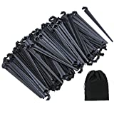 Elcoho 200 Pack Irrigation Drip Support Stakes 1/4 Inch Tubing Hose Holder for Vegetable Gardens or Flower Beds, with Storage Bag