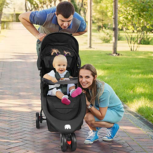 51km50cbqNL - Meinkind Baby Stroller, Foldable Jogger Stroller Lightweight Baby Strollers 3-Wheels Running Stroller Travel Stroller With Canopy, Snack Tray, 5-Point Safety Belt, Storage Basket, Up To 33lbs Toddler