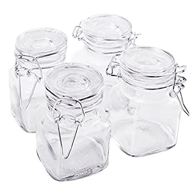 3 1/4  Square Glass 3oz Jar with Hinge Glass Lid for Home Kitchen, Arts & Crafts Projects, Decoration, Snack Foods and Sauces (4 Pack) by Super Z Outlet