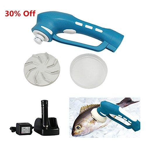 Electric Fish Skin Scaler, EVERTOP Descaler Scale Scraper Knife Fish Scale Scrape, Professional Set of Seafood Tools (Blue) (Fish Electric Scaler)