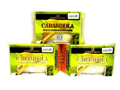 Beauty Set : 3 Argeville Carambola Plus Honey Anti-acne Wrinkles Black Spots Herbal Soap Bar Amazing of Thailand [Free Facial Hair Epicare Spring A1Remover]