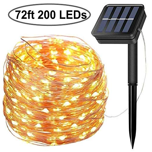 Solar String Lights, 200 LED Solar Fairy Lights 72 Feet 8 Modes Copper Wire Lights Waterproof Outdoor String Lights for Garden Patio Gate Yard Party Wedding Indoor Bedroom (Warm White)