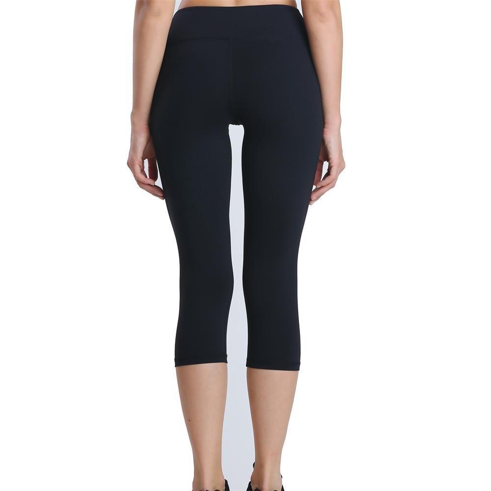 Black Eshtanga Power Flex Yoga Capris Tummy Control Running Capris 4 Way Stretch Workout Leggings