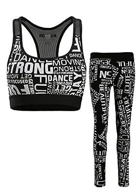 Yoga Suits for Womens, High Waist Print Racerback Sports Bra Yoga Pants with Pocket