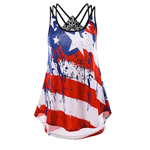 (HGWXX7 Tank Tops Women Plus Size Flag Print Striped Backless Swing Blouse Cami (XXXXL, Red))