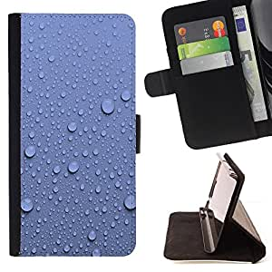 BullDog Case - FOR/HTC One M8 / - / water droplets blue wall pattern nature /- Monedero de cuero de la PU Llevar cubierta de la caja con el ID Credit Card Slots Flip funda de cuer