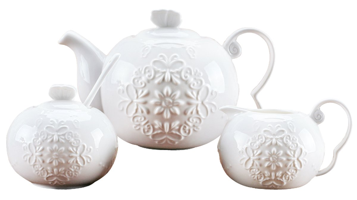 Jusalpha White fine china butterfly enbossed 3 piece teapot and creamer set (Teapot creamer set)