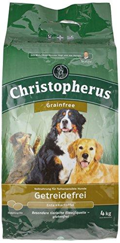 Christopherus Grainfree, Vollnahrung für den ausgewachsenen Hund mit normaler Aktivität, Trockenfutter, Ente + Kartoffel, Krokettengröße ca. 1 cm, Ausgewachsener Hund, 4,0 kg