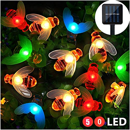 LED String Lights, 50Pcs Multi-color LED Honey Bee Shape, 23ft length, Solar-Powered Fairy Lights, Waterproof LED Strand Lights for Garden, Christmas, Wedding, Party, Outdoor Lighting Decorations (String A Bee On)