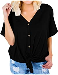 Button Down V Neck Shirts Loose Fitting Short Sleeve Henley Shirts Front Tie Tops
