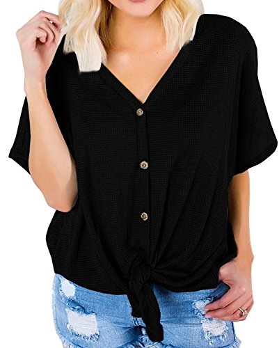 Imily Bela Womens Casual Tie Knot Button Down Tunic Shirt Knitted Short Sleeve Tees ()