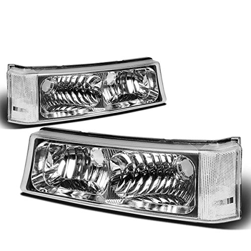 For Chevy Silverado/Avalanche 1st Gen Bumper Light Lamp with Clear Corner (Chrome Housing) ()