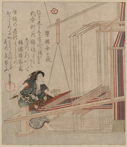 1920's Costumes To Australia (Japanese Print: Hataori, Shigenobu Yanagawa, Photo of Ukiyo-e, Japan, Woman Weaving at Loom, c1830 . Size: 8x)