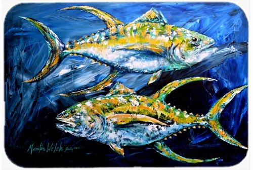 Caroline's Treasures Fish Tuna Tuna Blue Glass Cutting Board, Large, Multicolor