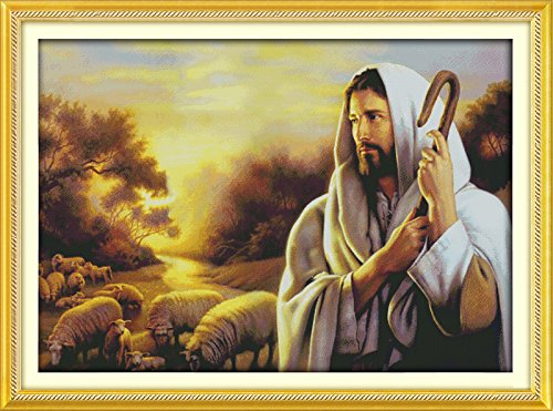Happy Forever Cross Stitch,Chinese style figure, Jesus tending sheep