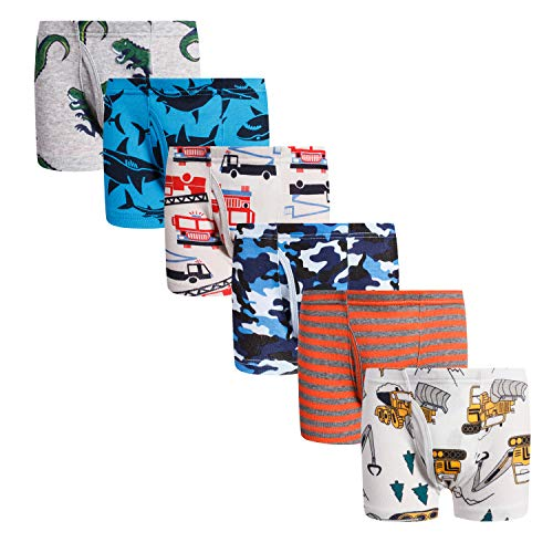 Boboking Little Boys Boxer Briefs Dinosaur Truck Toddler Kids Underwear Mixed (Pack of 6) 5-6years