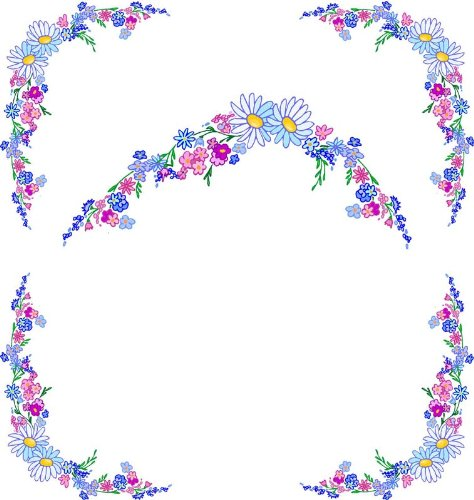 & Pink Flowers with Daisies-Vinyl Stained Glass Film, Static Cling Window Decal ()