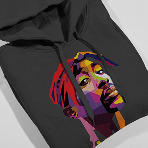 Geometric Celebrity Tupac Yellow Women's Hooded Sweatshirt Charcoal