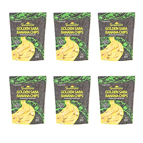 Golden Saba Luxury Banana Chips - 2 Oz, Chips, Premium, Homemade, Organic, No Preservatives, Fruit Chips, Fried Chips, Coconut Sugar Oil, Made in Philippines (Pack of 6) ()