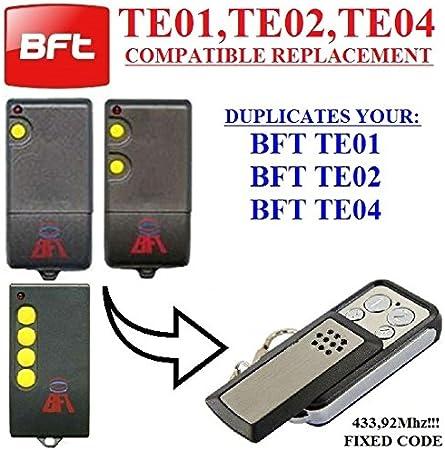 BFT TE01/BFT TE02/BFT TE04Compatible Mando a distancia, Clone transmisor para puerta de garaje automatización, calidad superior llavero, 433,92mhz, para códigos fijos clone.