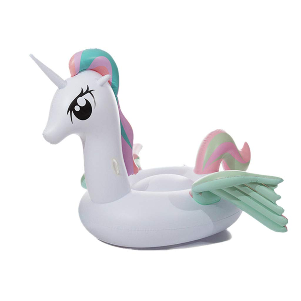 Rainbow Color Unicorn Fun Kids Swim Party Toy Non-toxic and Tasteless, Inflatable Floating Row, Inflatable Pool Float Summer Pool Raft, Inflatable Pool Toys Outdoor Water Lounge,White,265x220x165cm