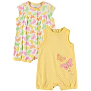 Little Me Baby Boys' and Baby Girls' Best Beginnings 2-Pack Romper (Butterfly, 3 Months)