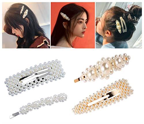 (Hair Barrettes Hair Pins Decorative Wedding Bridal Pearl Hairpins Handmade Bridesmaid Hair Clips Hair Accessories for Women Ladies Girls 4pcs)