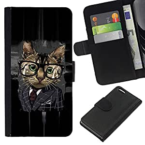 KingStore / Leather Etui en cuir / Apple Iphone 5C / Gato Oficina de Negocios Gafas