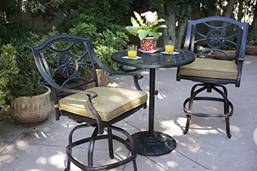 Darlee Ten Star Cast Aluminum 3 Piece Series 30 Pedestal Counter Height Bar Table with Seat Cushions, 30