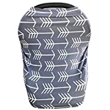 Multi-use Baby Nursing Cover & Baby Car Seat Cover, Gray White Arrow Deal