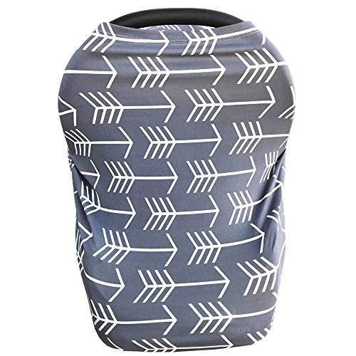 Nursing Cover for Babies Versatile Baby Car Seat Cover for Newborn Boys and Girls Cute Grey with White Arrow (Best Baby Car Seat Covers)