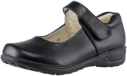 SKOEX Girls Mary Jane Leather Flat School Shoes(Toddler/Little Kid) US Size 2 Black3