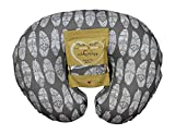 Nursing Pillow Slipcover Gray Feathers Design Maternity Breastfeeding Newborn Infant Feeding Cushion Cover Case Baby Shower Gift for New Moms
