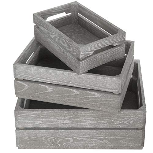 MyGift Set of 3 Nesting Ash Brown Wood Accent Crates, Storage Pallet Boxes with Handles ()