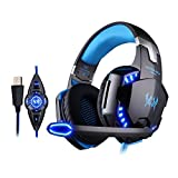 KOTION EACH G2200 7.1 Surround USB Super Vibration Gaming Headset with Microphone for PS4 Tablet Laptop (Blue)
