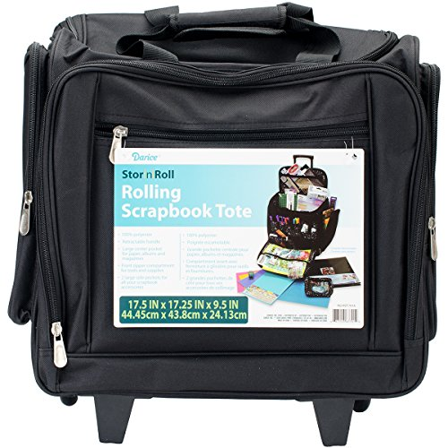 Darice Rolling Scrap Book Tote, Black Scrapbooking Caddy Tote