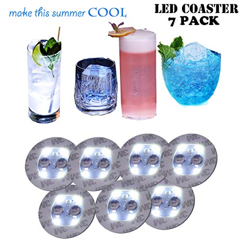 Bottle Lights,LED Bar Coasters,Bottle Glorifier,LED Sticker Coaster Discs Lights for Drinks,Wine Bottle Clear Glass Cup Vase White Lights -Birthday,Wedding,Bar,Party Decoration 7 PCS]()