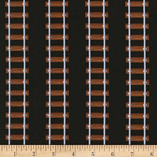 Timeless Treasures Ride The Rails Train Tracks Black Fabric By The (Timeless Track)