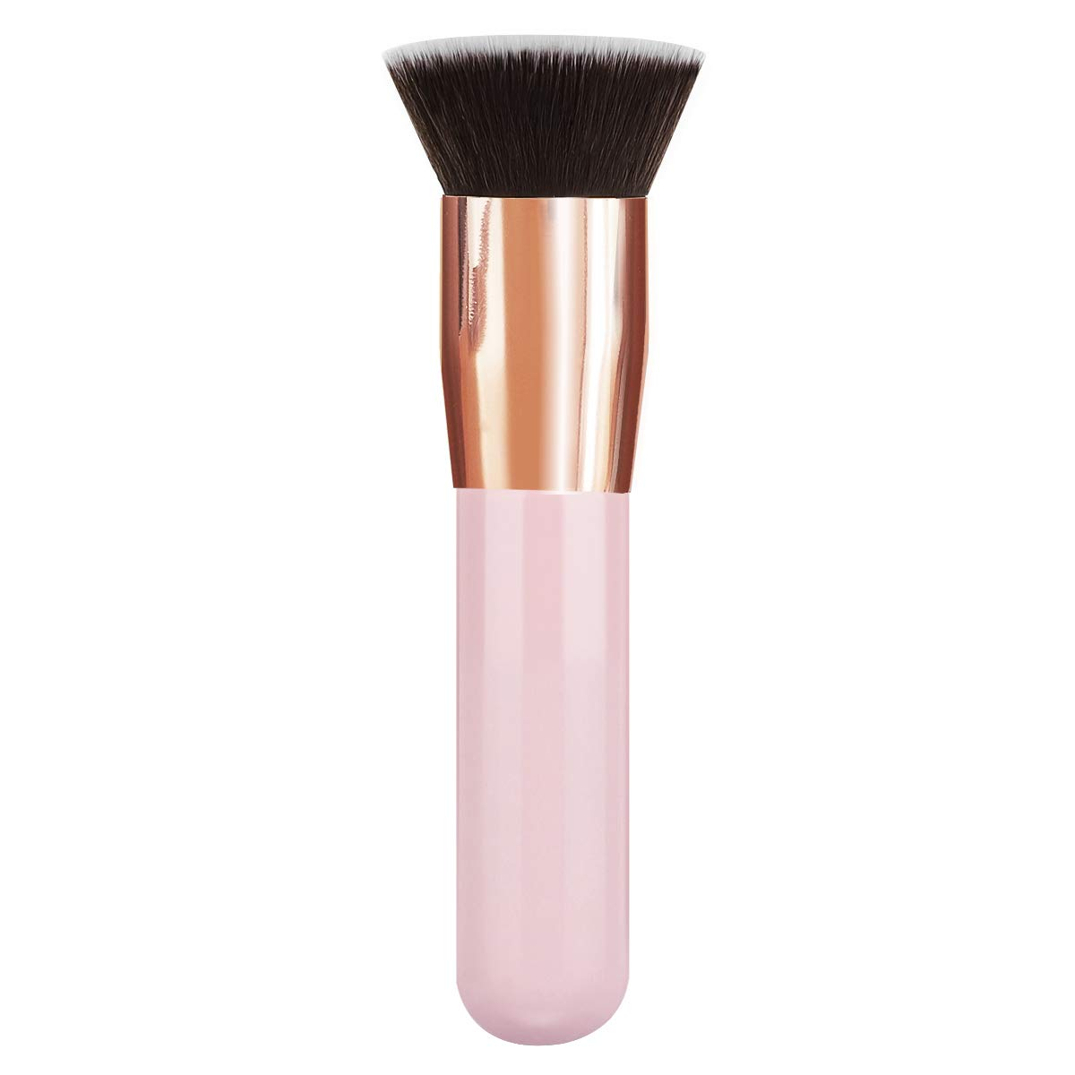 MoKo Foundation Makeup Brush, Premium Flat Head Top Kabuki Brush Portable Soft Synthetic Fiber Makeup Brush for Liquid Cream Mineral Powder Bronzer Face Cosmetic Make Up Tool, Pink