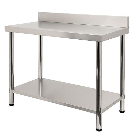 LARS360 Mesa de Trabajo de Cocina acero inoxidable, para gastronomía, preparación de alimentos, cocina, bar, restaurante, metal, L x B x H: 100 * 60 * ...