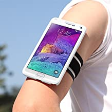 Galaxy Note 4 Armband, MoKo Silicone Armband for Samsung Galaxy Note 4(2014) 5.7 inch - Key holder Slot, well-rounded protection, Perfect Earphone Connection while Workout Running, Crystal CLEAR