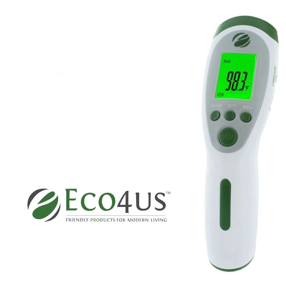 Eco4us - Non-Contact Infrared Talking Thermometer, Large Backlit LCD Display, Announces Temperature in 3 Languages. Reads Body, Surface, & Room Temperatures, Visually Impaired Friendly