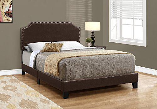 Monarch I I 5927F Bed Size / Dark Leather-Look with Brass Trim, Full, Brown - Leather Look Frame