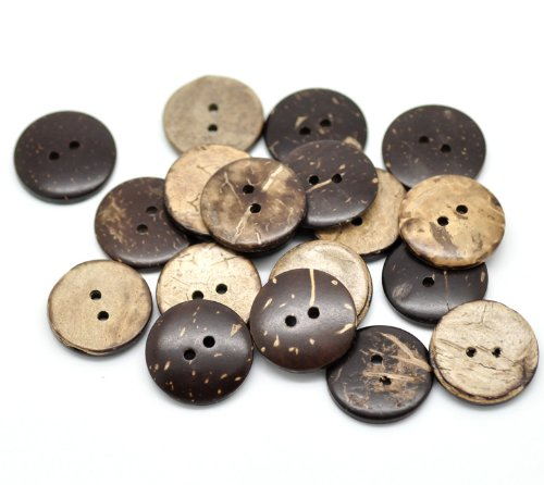 """50pc 3/4"""" (20mm) Brown Coconut Shell 2 Holes Sewing Buttons [Office Product]"""